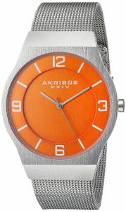 [アクリボス XXIV]Akribos XXIV  Round Orange Dial Three Hand Quartz Bracelet Watch AK851OR