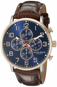 [アクリボス XXIV]Akribos XXIV Round Blue Dial Chronograph Quartz Two Tone Strap Watch AK854RGBR