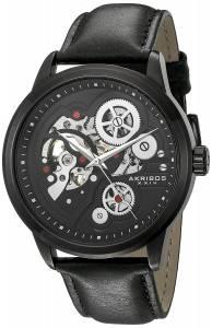 [アクリボス XXIV]Akribos XXIV  Round Black Dial Three Hand Quartz Black Strap Watch AK855BK