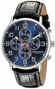 [アクリボス XXIV]Akribos XXIV  Round Blue Dial Chronograph Quartz Strap Watch AK854SSBU