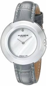 [アクリボス XXIV]Akribos XXIV MotherofPearl Dial Silver Tone & Grey Leather Strap Watch AK876GY