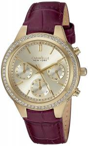 Caravelle New York 44L182 Women's Chronograph Purple Leather Band Gold Dial Watch