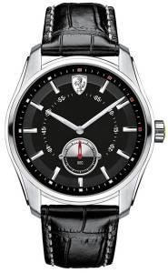 [フェラーリ]Ferrari  Scuderia GTB Black Dial SS Leather Multi Quartz Male Watch 830231