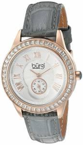 [バージ]Burgi  Rose Gold Quartz Watch With Silver Dial and Swarovski Crystal Accented BUR144GY