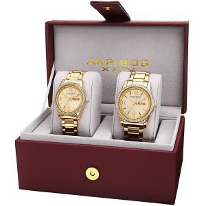 [アクリボス XXIV]Akribos XXIV  Analog Display Quartz Gold Watch Set AK888YG ユニセックス