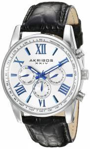 [アクリボス XXIV]Akribos XXIV Two Time Zone Silver Tone and Black Leather Strap Watch AK864SS