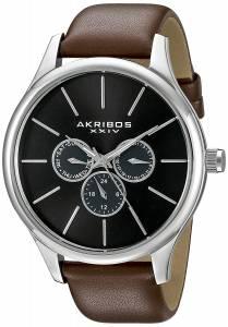 [アクリボス XXIV]Akribos XXIV Round Black Dial Three Hand Quartz Stainless Steel Strap AK870BR