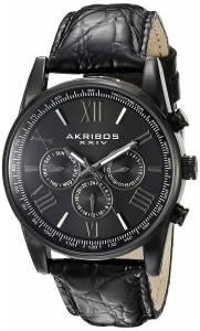[アクリボス XXIV]Akribos XXIV  Multifunction Black Leather Strap Watch AK864BK メンズ