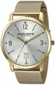 [アクリボス XXIV]Akribos XXIV  Round Silver Dial Three Hand Quartz Bracelet Watch AK858YG