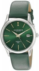 [アクリボス XXIV]Akribos XXIV Diamond Accented Silver Tone Stainless Steel Green AK879GN