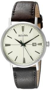 [ブローバ]Bulova 腕時計 20mm Leather Calfskin Black Watch Bracelet 96B242 メンズ