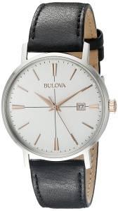 [ブローバ]Bulova 腕時計 20mm Leather Calfskin Black Watch Bracelet 98B254 メンズ
