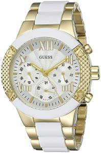 [ゲス]GUESS 腕時計 Trendy White and GoldTone ChronoLook U0770L1 レディース