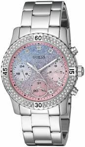[ゲス]GUESS  SilverTone Watch with Blue and Pink Glitter MultiFunction Dial U0774L1