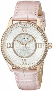 [ゲス]GUESS 腕時計 Dressy Watch with Light Pink Genuine Leather Strap U0768L3 レディース