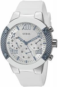 [ゲス]GUESS  Sporty MultiFunction Watch on Comfortable White Silicone Strap U0772L3