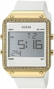 [ゲス]GUESS  GoldTone MultiFunction Digital Watch on White Silicone Strap U0700L1 レディース
