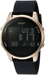 [ゲス]GUESS  U0787G2 GoldTone MultiFunction Digital Watch on Black Silicone Strap U0787G1