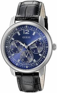 [ゲス]GUESS 腕時計 Blue MultiFunction Watch on Black Genuine Leather Strap U0790G2 メンズ