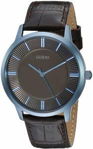 [ゲス]GUESS 腕時計 Sleek Iconic Blue and Brown Genuine Leather Strap U0664G3 メンズ