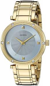 [ゲス]GUESS  Dressy GoldTone Watch with Diamond Accent and Sky Blue Dial U0695L2 レディース