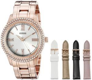 [ゲス]GUESS Luxurious Rose GoldTone Watch Set with Metal Bracelet and 4 Interchangeable U0713L3