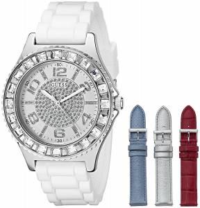 [ゲス]GUESS SilverTone Watch Set with 4 Interchangeable Leather Straps Inside a Bonus U0714L1