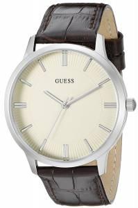 [ゲス]GUESS 腕時計 Classic SilverTone Watch with Brown Genuine Leather Strap U0664G2 メンズ