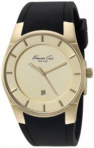 Kenneth Cole 10027722 Men's Stainless Steel Black Silicone Band Gold Dial Sma... (parallel imports)