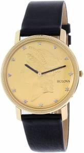 [ブローバ]Bulova  Diamond 140th Anniversary Gold Tone Dial Black Leather Strap Watch 97D105