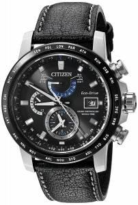 [シチズン]Citizen 'World Time AT' Quartz Stainless Steel and Leather Casual Watch, AT9071-07E