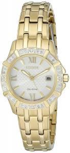 [シチズン]Citizen EcoDrive 'Diamond' Quartz Stainless Steel Casual Watch, Color: EW2362-55A