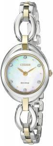 [シチズン]Citizen EcoDrive 'Silhouette' Quartz Stainless Steel Casual Watch, Color: EX1434-55D