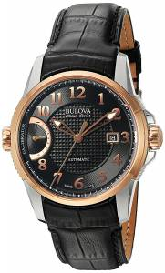 [ブローバ]Bulova 'Calibrator' Swiss Automatic Stainless Steel and Black Leather Casual 65B154