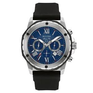 [ブローバ]Bulova  Quartz Stainless Steel and Silicone Automatic Watch, Color:Black 98B258