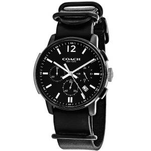 [コーチ]COACH 腕時計 Bleecker Black Leather Nato Strap Chronograph Watch 14602021 メンズ