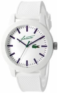 [ラコステ]Lacoste  '12.12' Quartz Resin and Silicone Casual Watch, Color:White 2010861