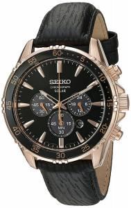 [セイコー]Seiko Watches  Seiko 'Chronograph' Quartz Gold and Black Leather Dress Watch SSC448