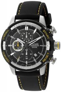 [パルサー]Pulsar 腕時計 'Chronograph' Quartz Black Dress Watch PM3053 メンズ