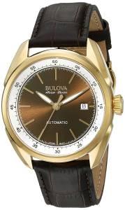 [ブローバ]Bulova 腕時計 Stainless Steel and Brown Leather Automatic Watch 64B127 メンズ