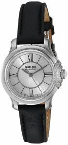 [ブローバ]Bulova  Quartz Stainless Steel and Black Leather Dress Watch 63R142 レディース
