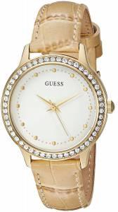 [ゲス]GUESS  Classic Feminine GoldTone Watch with Tan Genuine Leather Strap U0648L3