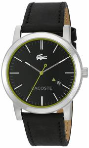 [ラコステ]Lacoste  'METRO' Quartz Resin and Leather Casual Watch, Color:Black 2010847 メンズ