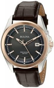 [ブローバ]Bulova 腕時計 Stainless Steel Dress Watch With Brown Leather Band 98B267 メンズ