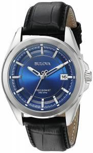 [ブローバ]Bulova  Quartz Stainless Steel and Black Leather Dress Watch 96B257 メンズ