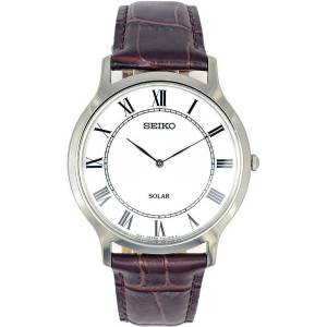 SEIKO Men's Solar Classic Brown Leather Watch SUP869P1 《並行輸入品》