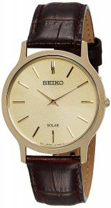 SEIKO Men's Solar Classic Brown Leather Watch SUP870P1 《並行輸入品》