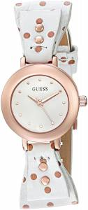 [ゲス]GUESS  Feminine White BowTie Watch with Genuine Leather Strap U0736L6 レディース