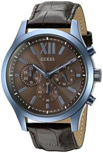 [ゲス]GUESS  Iconic Sky Blue Multifunction Watch with Brown Genuine Leather U0789G2 メンズ