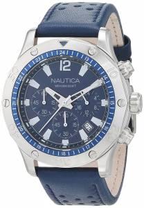 [ノーティカ]Nautica  'NST 21' Quartz Stainless Steel and Leather Casual Watch, NAD16547G
